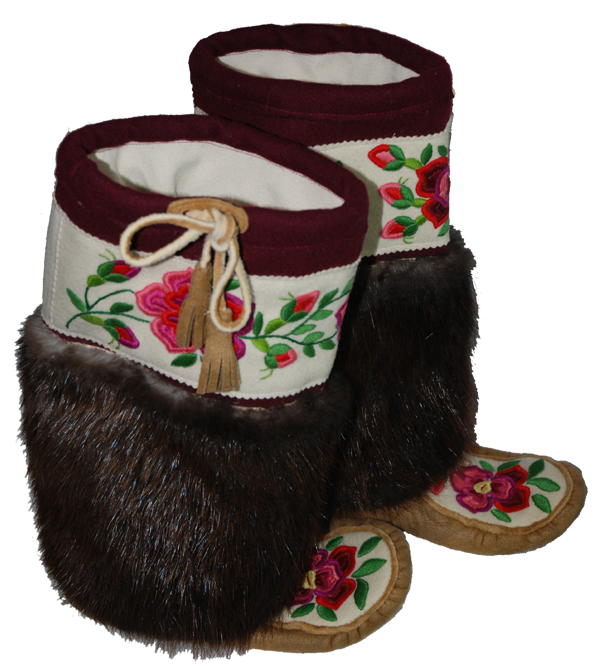hand made smoked moosehide mukluks designed and created by skilled
